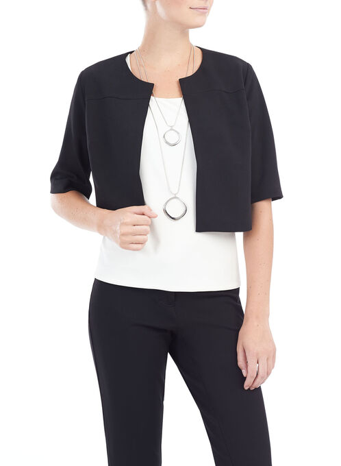 3/4 Sleeve Crêpe Bolero, Black, hi-res