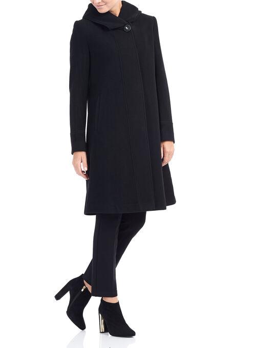Novelti A-Line Cashmere Wool Coat, Black, hi-res
