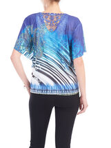 Short Sleeve Sequined T-Shirt, Blue, hi-res
