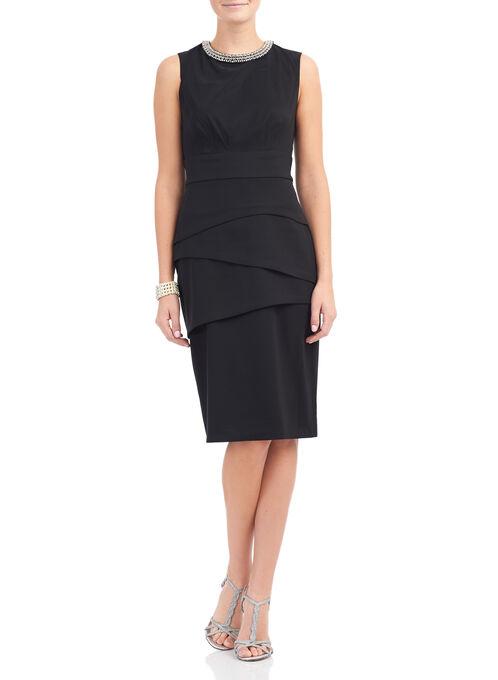Tiered Rhinestone Trim Dress, Black, hi-res