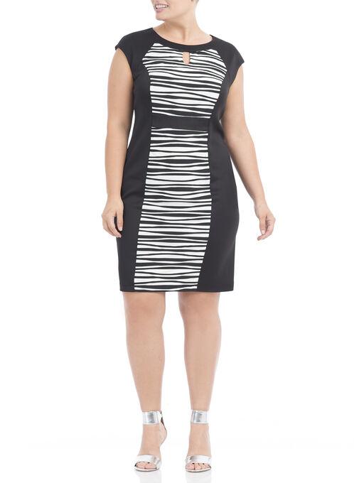 Wavy Stripe Scuba Dress, Black, hi-res