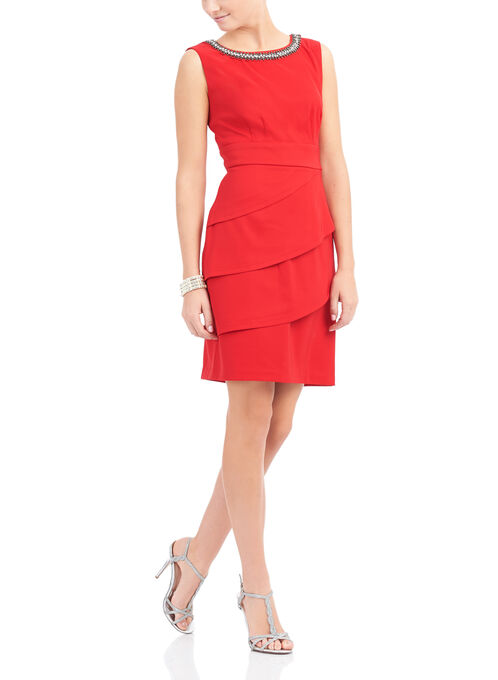Rhinestone Trim Layered Dress, Red, hi-res