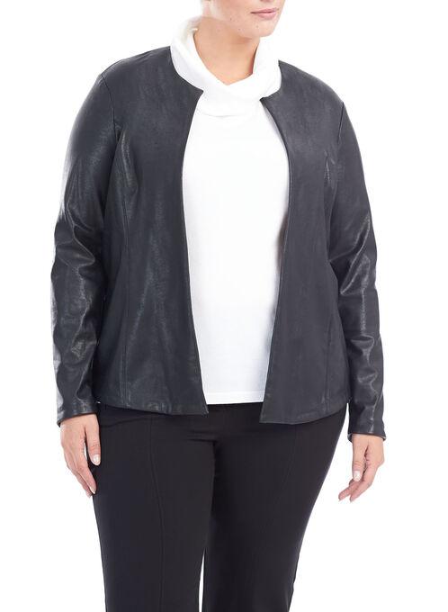 Collarless Vegan Leather Jacket, Black, hi-res