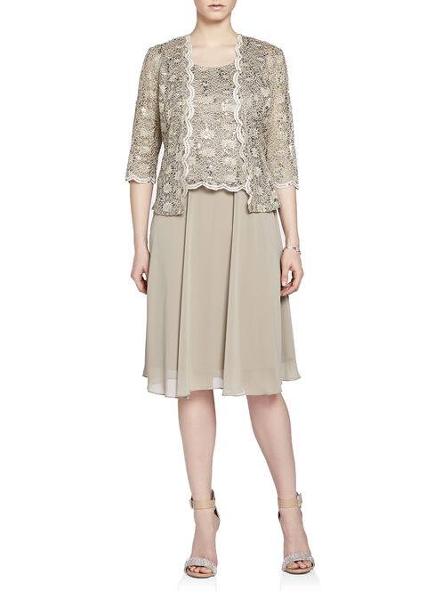 Scalloped Sequined Lace Top Dress with Jacket, Brown, hi-res