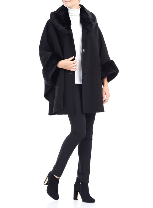 Wool-Like Cape with Faux Fur Detail, Black, hi-res