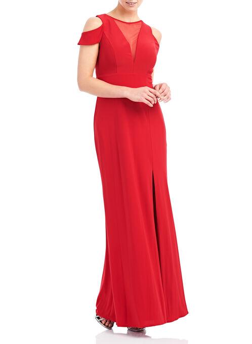 Jersey & Mesh Cold Shoulder Gown , Red, hi-res