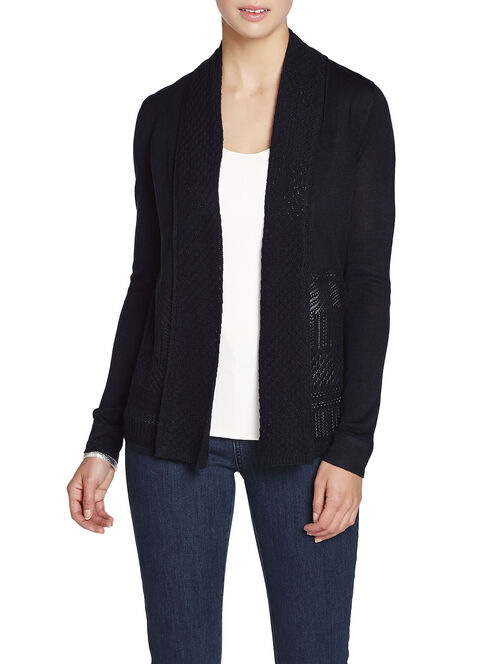 Knit Shawl Collar Tunic Cardigan, Blue, hi-res
