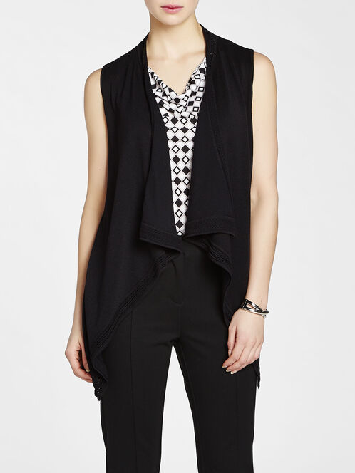 Pointelle Trim Knit Vest, Black, hi-res