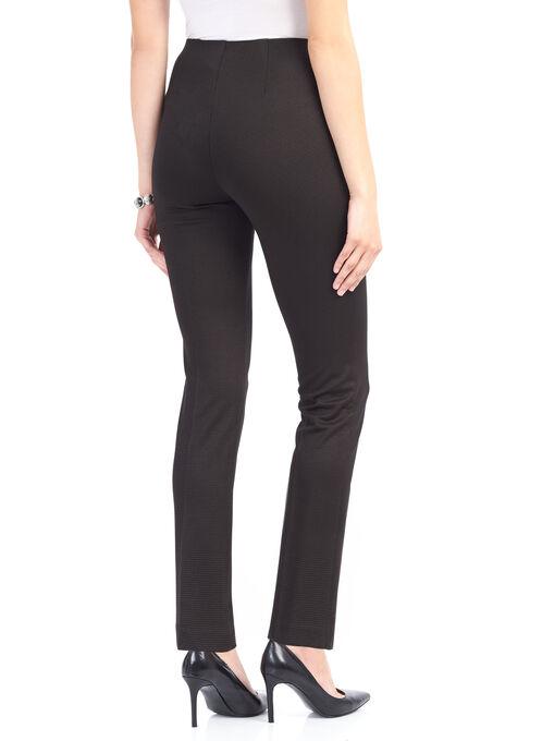 Houndstooth Print Straight Leg Pants, Black, hi-res