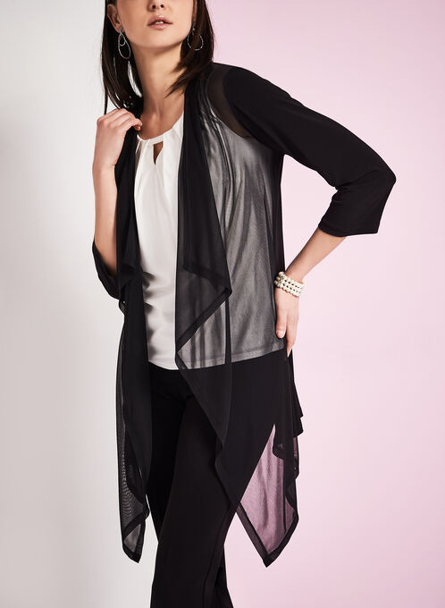 Sheer Cascade Front Cover-Up, Black, hi-res