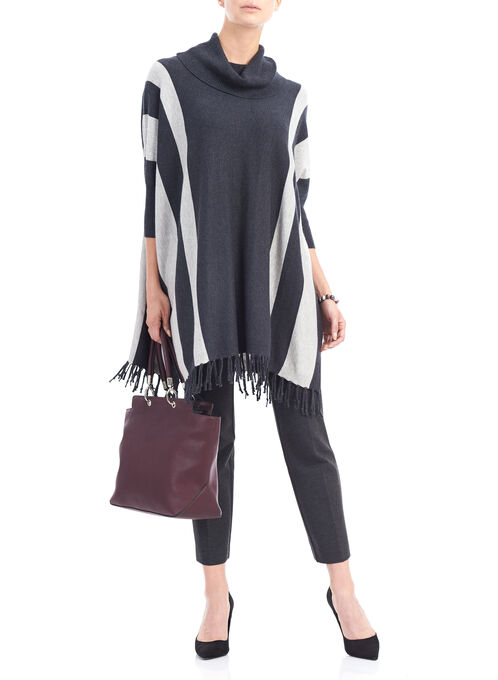 Fringed Turtleneck Tunic Top, Grey, hi-res