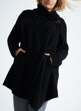 Asymmetrical Wool Coat , Black, hi-res