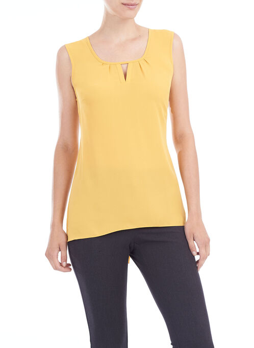Sleeveless High-Low Blouse , Yellow, hi-res