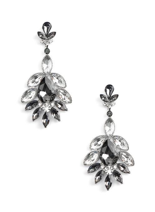 Crystal Cluster Dangle Earrings, Grey, hi-res