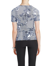 Crossover Front Paisley Print Top, Blue, hi-res
