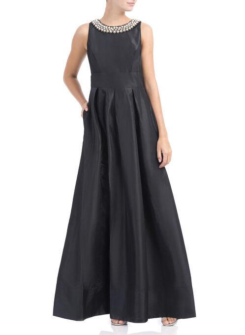 Pearl Neckline Taffeta Dress, Black, hi-res