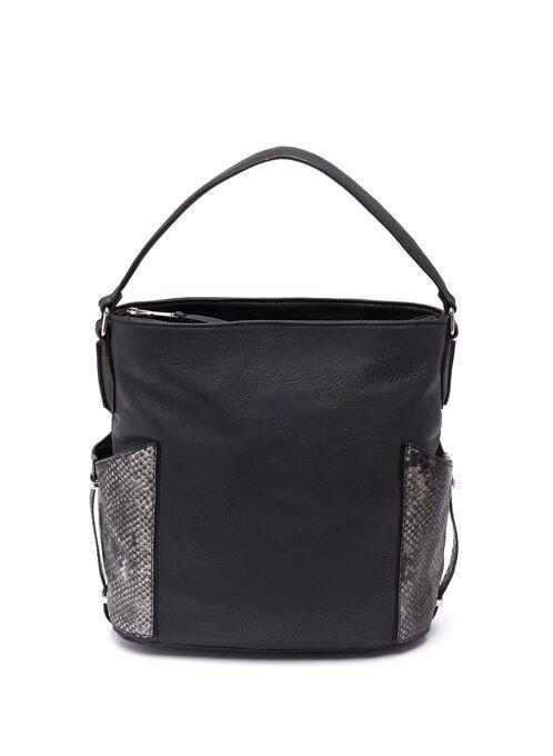 Snake Print Bucket Bag , Black, hi-res