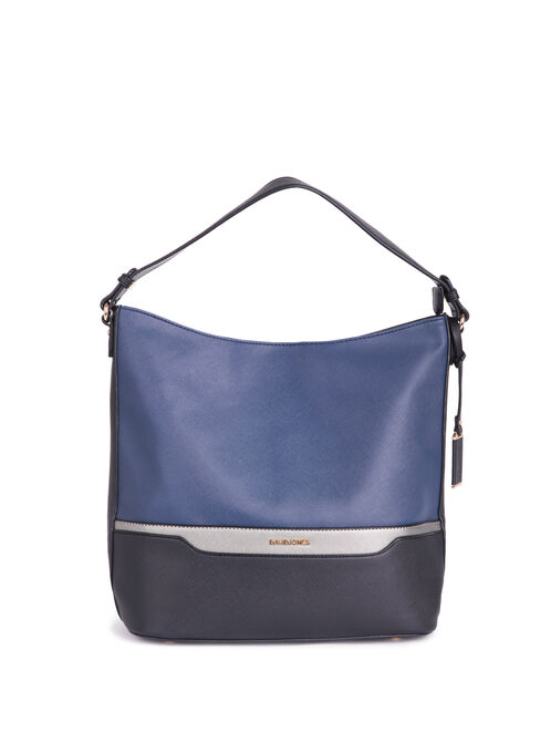 Colour Block Faux Leather Handbag, Blue, hi-res