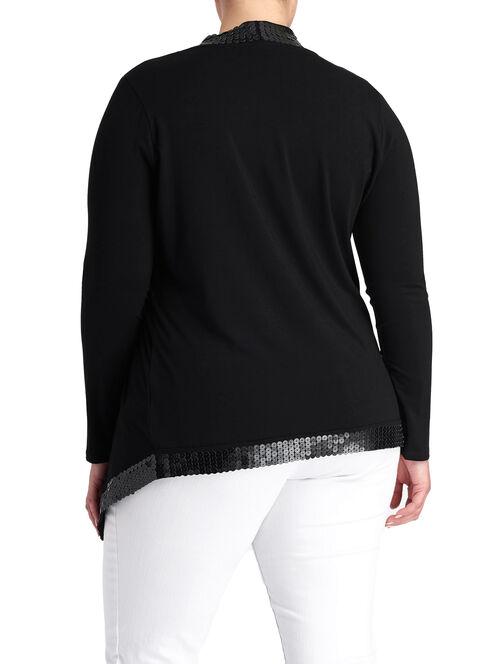 Sequin Trim Draped Front Cardigan , Black, hi-res