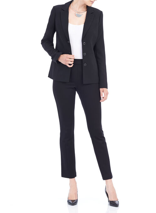 Panelled Detail Notch Collar Blazer, Black, hi-res