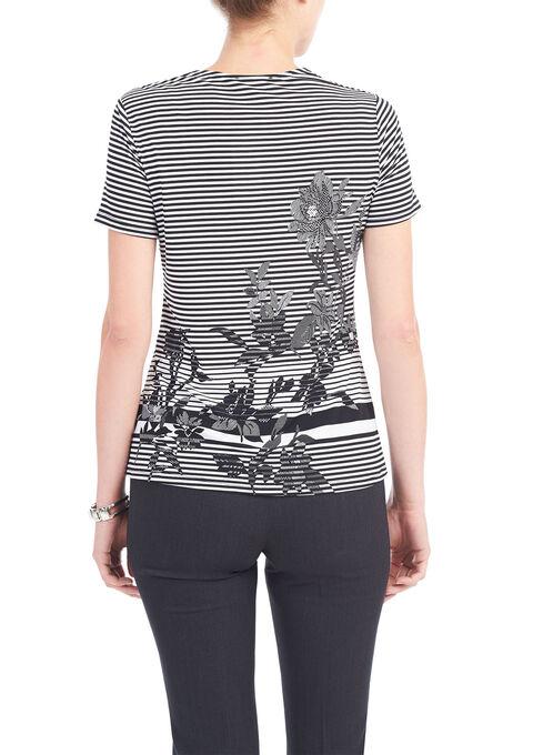 Short Sleeve Cut & Sew Print Top, Black, hi-res