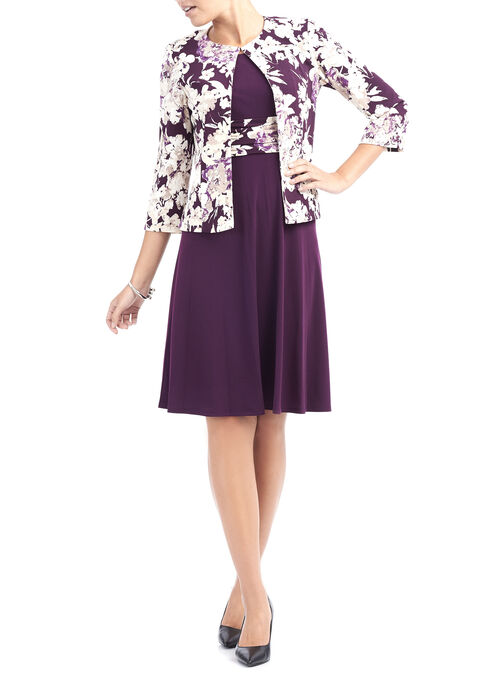 Jersey Fit & Flare Dress with Jacket, Purple, hi-res