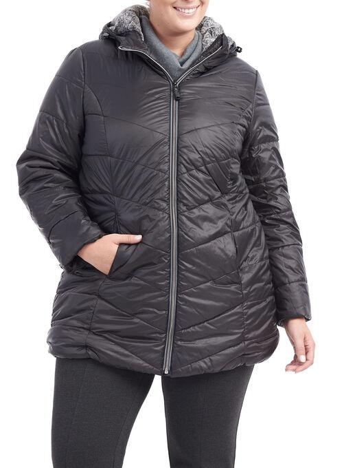 Novelti Quilted Hooded Jacket, Black, hi-res