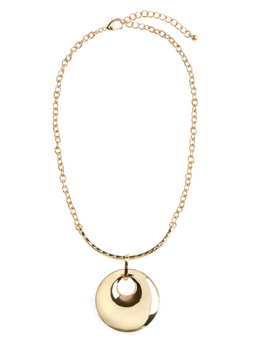 Round Pendant Chain Necklace, Gold, hi-res
