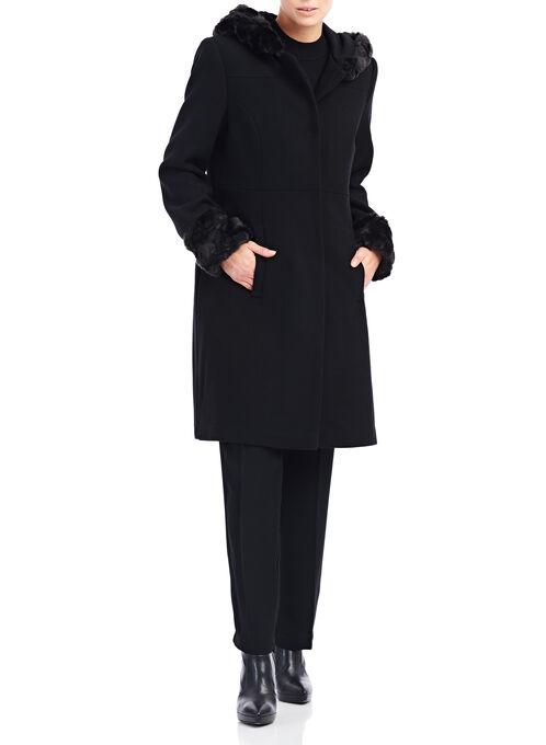 Novelti Wool & Faux Fur Coat , Black, hi-res