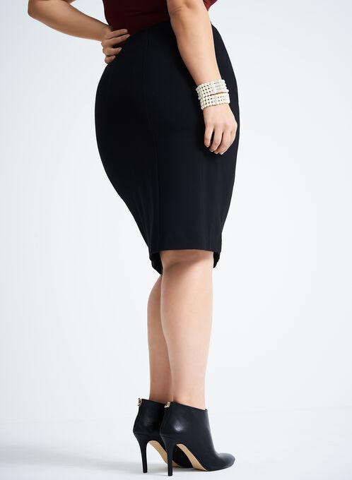 Ponte Stitch Detail Pencil Skirt , Black, hi-res