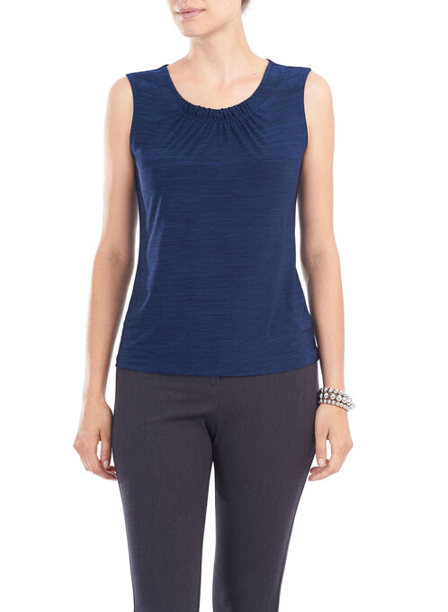 Sleeveless Ruched Neck Top, Blue, hi-res