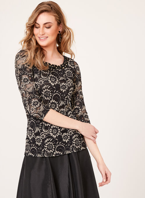 3/4 Sleeve Beaded Lace Top, Black, hi-res