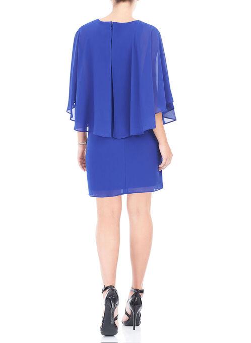 Jewel Trim Capelet Cocktail Dress, Blue, hi-res