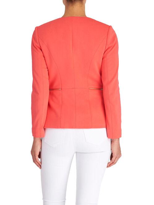 Zipper Trim Drapey Collar Jacket, Orange, hi-res