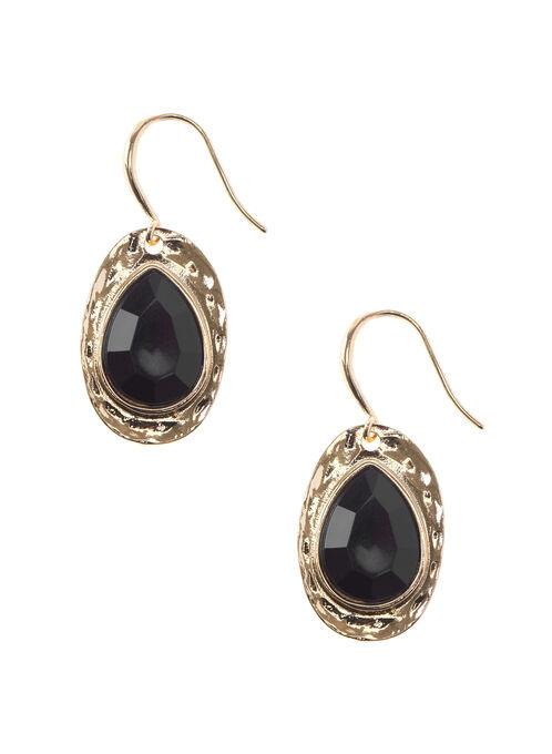 Oval Stone Dangle Earrings , Silver, hi-res