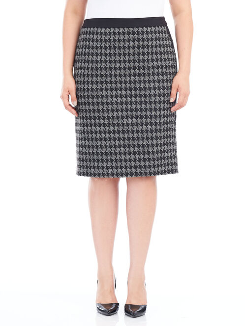 Short Ponte Houndstooth Pencil Skirt, Black, hi-res