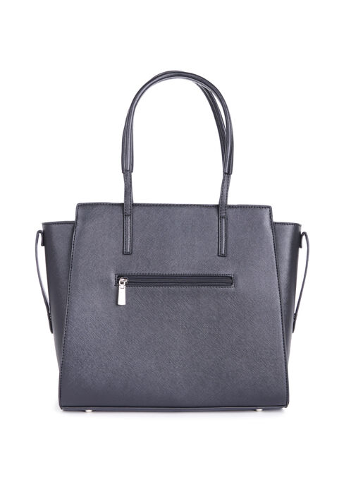 Textured Faux Leather Tote , Black, hi-res