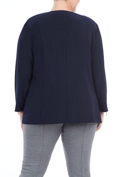 Asymmetrical Zipper Trim Jacket , Blue, hi-res
