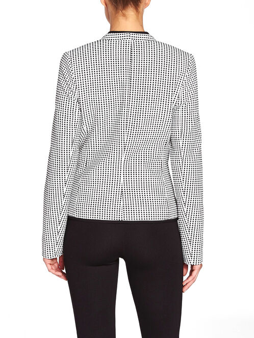 Zip Waist Checked Collarless Blazer, Black, hi-res