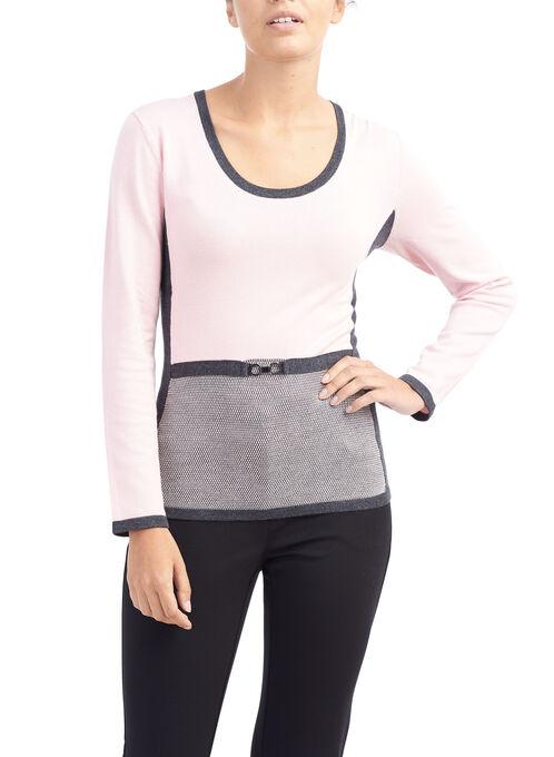 3/4 Sleeve Belt Detail Sweater, Grey, hi-res