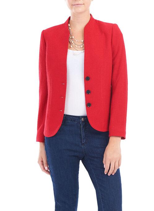 Wool Blend Panel Detail Jacket, Red, hi-res