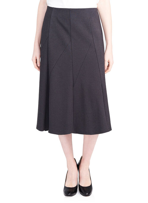 Gored Ponte Skirt, Grey, hi-res