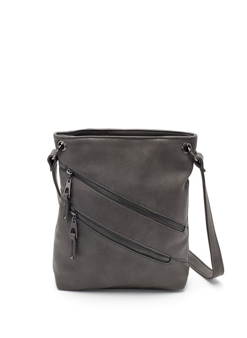 Zipper Front Crossbody Bag, Grey, hi-res