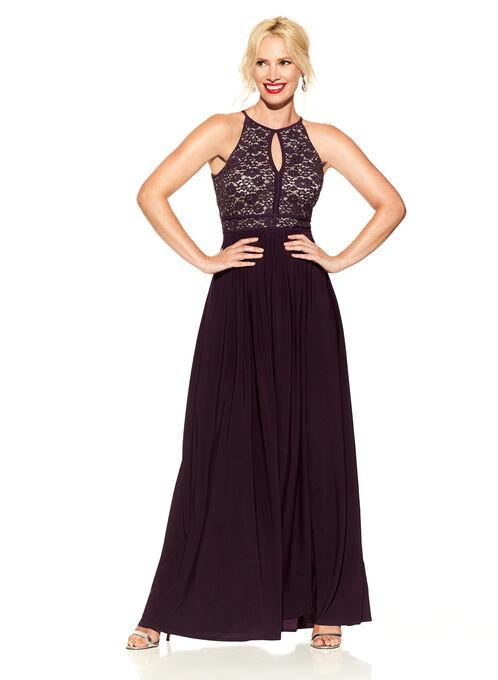 Sequined Lace Halter Neck Gown , Purple, hi-res