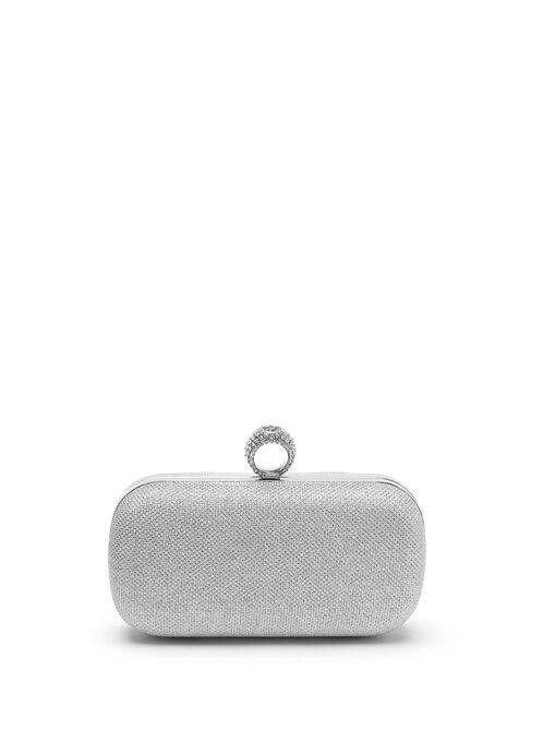 Metallic Box Clutch, Silver, hi-res