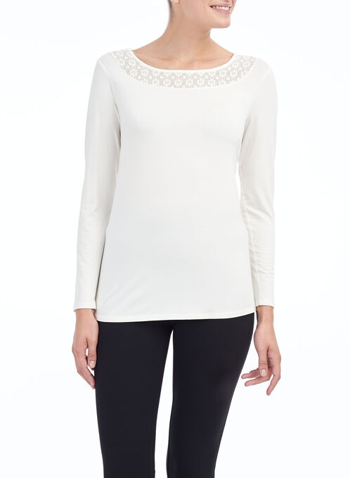 Long Sleeve Lace Insert Top, Off White, hi-res