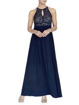 Glitter Lace Keyhole Bodice Halter Gown, Blue, hi-res