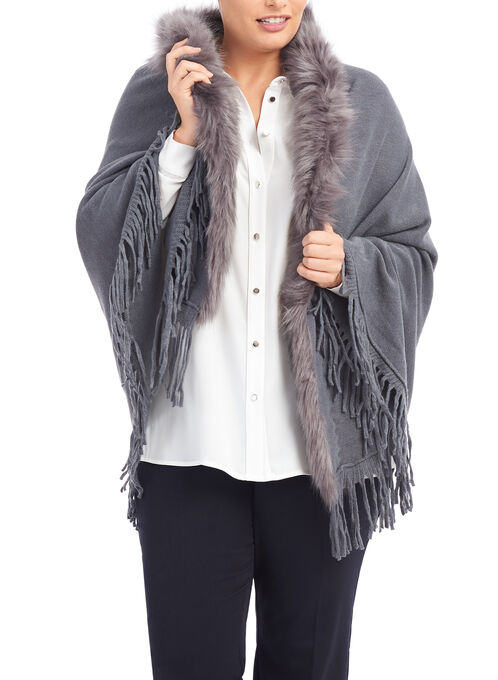Faux Fur Oblong Scarf , Grey, hi-res