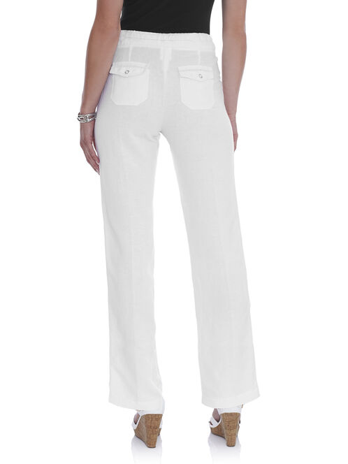 Straight Leg Linen Pants, White, hi-res