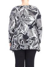 Long Sleeve Printed Knit Tunic, Grey, hi-res